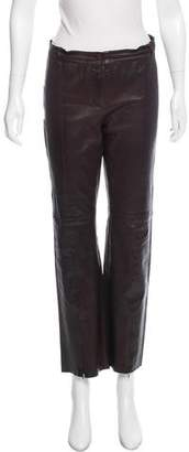 Plein Sud Jeans Leather Mid-Rise Pants