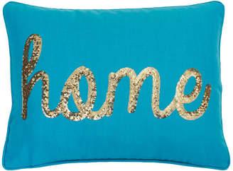 Co Jimco Lamp & Manufacturing Home Sequin Script Faux Linen Pillow