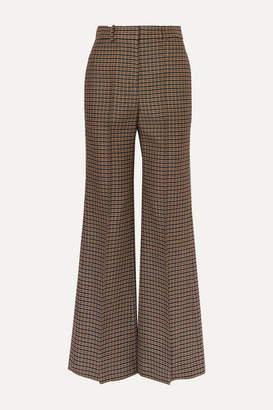 Victoria Beckham Checked Wool Wide-leg Pants - Brown