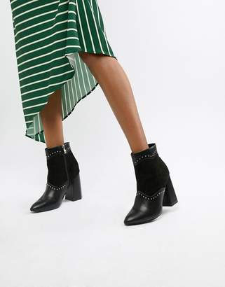 Lost Ink CHUNKY Black Studded Heeled Ankle Boots