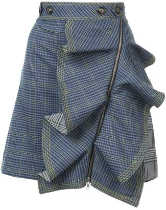 Self-Portrait flounced check skirt