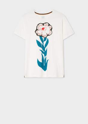 Paul Smith Women's White 'Floral Stem' Print Cotton T-Shirt