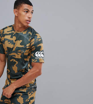 Canterbury of New Zealand Vapodri Camo Superlight T-Shirt In Khaki Exclusive To ASOS