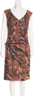 Lela Rose Sleeveless Brocade Dress