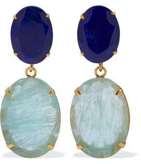 Bounkit Convertible Gold-Tone Lapis Lazuli And Fluorite Earrings