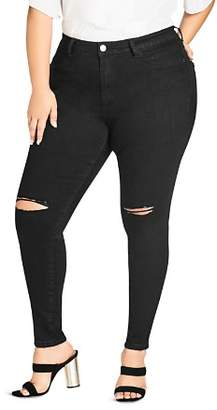 City Chic Plus Simple Ripped Knee Skinny Jeans in Black
