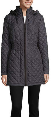 Liz Claiborne Woven Hooded Lightweight Quilted Jacket