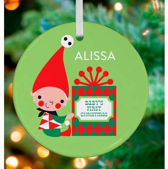 Oopsy Daisy Fine Art For Kids Little Baby's First Christmas Personalized Ornament by Amy Blay