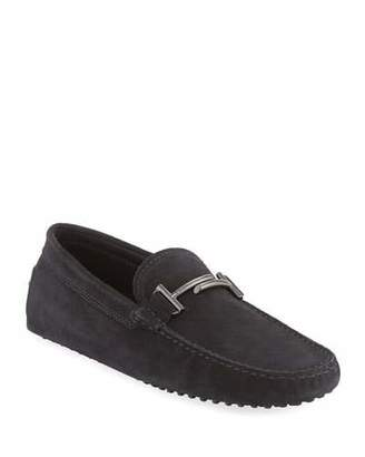 Tod's Gommini Double-T Suede Driver, Black