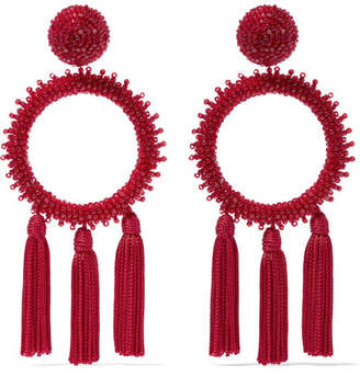 Tasseled Beaded Clip Earrings - Burgundy