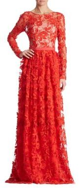 ML Monique Lhuillier Floral Lace Gown $695 thestylecure.com