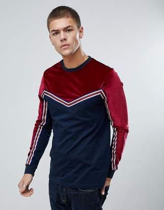 Asos DESIGN Long Sleeve T-Shirt In Velour With Taping