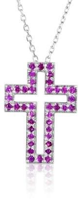 Boucheron 18K White Gold Ruby Cross Pendant Necklace