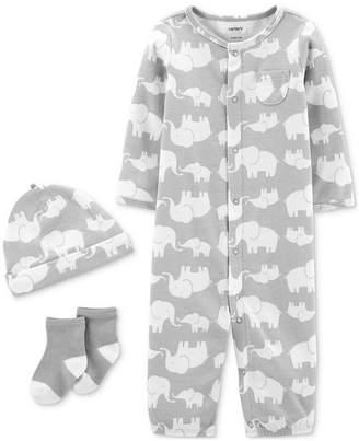 Carter's Carter Baby Boys & Girls 3-Pc. Elephant-Print Coverall, Hat & Socks Cotton Set