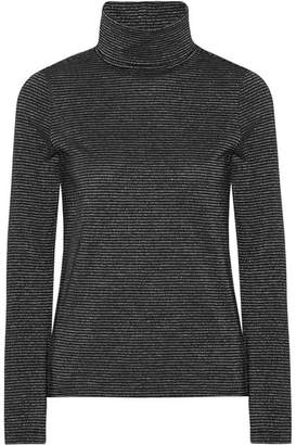 MiH Jeans Range Polo Metallic Striped Cotton-blend Turtleneck Top - Black