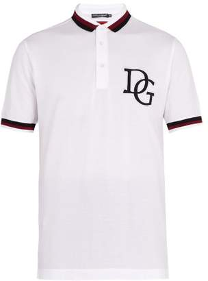 Dolce & Gabbana Striped Trim Cotton Pique Polo Shirt - Mens - White