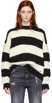 DSQUARED2 Black and White Alpaca Striped Sweater