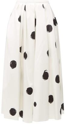Christopher Kane Polka Dot Cotton Blend Charmeuse Midi Skirt - Womens - White Black