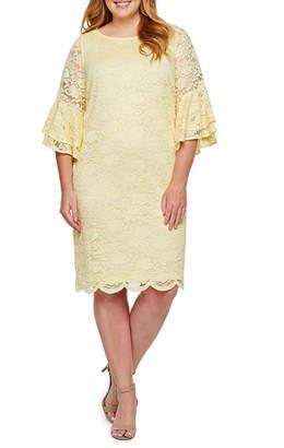 d563e226f7 Liz Claiborne 3 4 Sleeve Floral Shift Dress-Plus