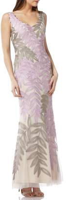 JS Collections Leaf Soutache Trumpet Gown