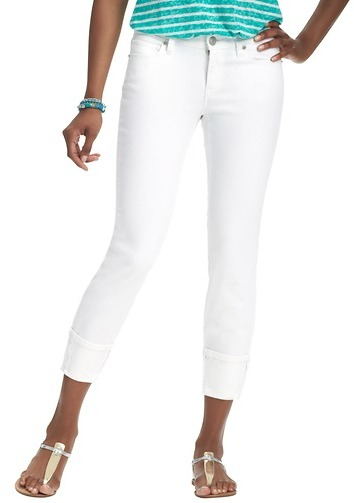 LOFT Curvy Straight Cuffed Cropped Jeans in White