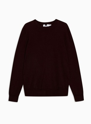 Topman Mens Red Burgundy Twist Hem Stitch Sweater