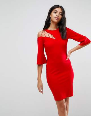 Asos Fluted Sleeve Shift Dress With Ladder Detail