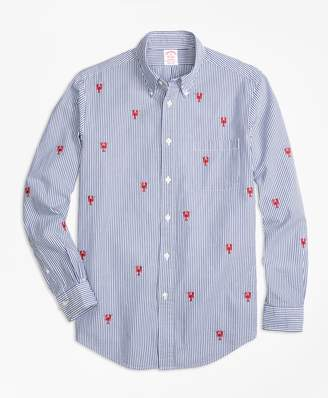 Brooks Brothers Madison Fit Seersucker with Lobsters Sport Shirt