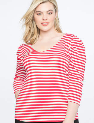 Draped Sleeve Stripe Top