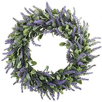 "GTidea 16"" Artificial Lavender Wreaths Flowers Arrangements Front Door Wall Home DIY Floor Garden Office Wedding Decor in Purple"
