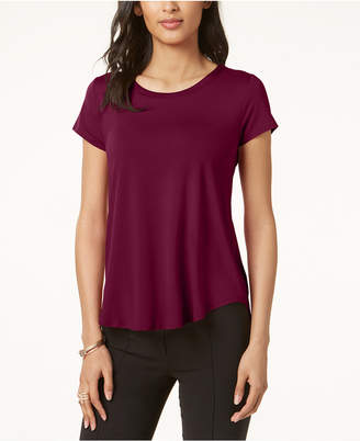 Alfani Petite Satin-Trim High-Low T-Shirt