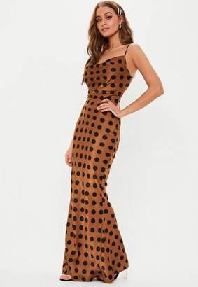 943ac864f2ef6 Missguided Rust Polka Dot Cowl Maxi Dress, Rust Orange