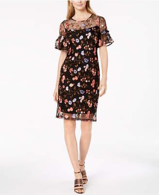 Calvin Klein Embroidered Floral Mesh Sheath Dress