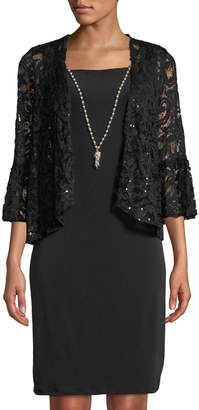Neiman Marcus Lace Jacket Dress with Pearly Necklace