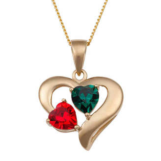 FINE JEWELRY Personalized Couple's Birthstone Heart Pendant Necklace