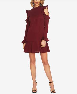 CeCe Metallic Ruffled A-Line Dress