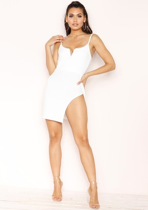 Missy Empire Olivia White Bodycon Split Mini Dress