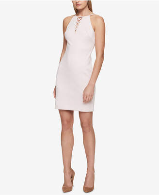 GUESS Lace-Up Halter Sheath Dress