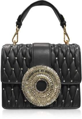 Gedebe Gio Black Nappa Leather & Crystal Handbag