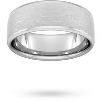 8mm Flat Court Heavy Matt Finished Wedding Ring In 950 Palladium
