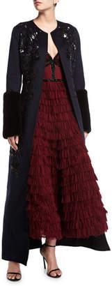 J. Mendel Long Paillette-Embellished Coat w/Mink Fur Cuffs
