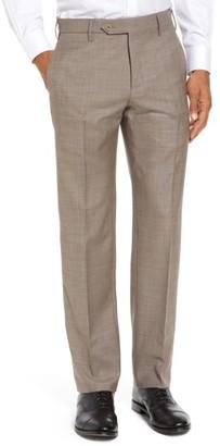 Men's Zanella Parker Flat Front Sharkskin Wool Trousers $345 thestylecure.com