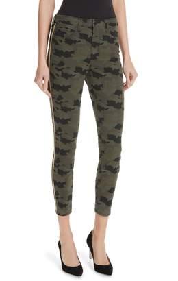 L'Agence Margot Side Stripe Camo Print Crop Skinny Jeans