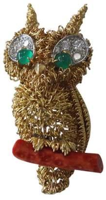 Cartier 18K Yellow Gold Owl Diamond Coral Emerald Brooch / Pendant