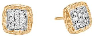 John Hardy 18K Yellow Gold Classic Chain Pavé Diamond Stud Earrings