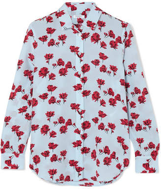 Equipment Leema Floral-print Washed-silk Shirt - Blue