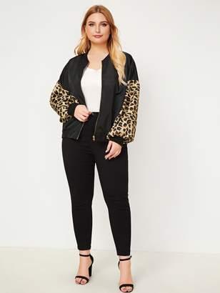 Shein Plus Contrast Leopard Sleeve Jacket