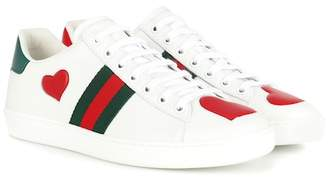 Gucci Ace snakeskin-trimmed leather sneakers