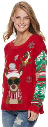 It's Our Time Its Our Time Juniors' Reindeer Sunglasses Christmas Sweater