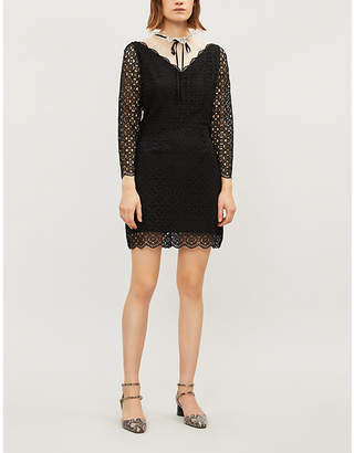 Sandro Cristina contrast-panel geometric lace dress